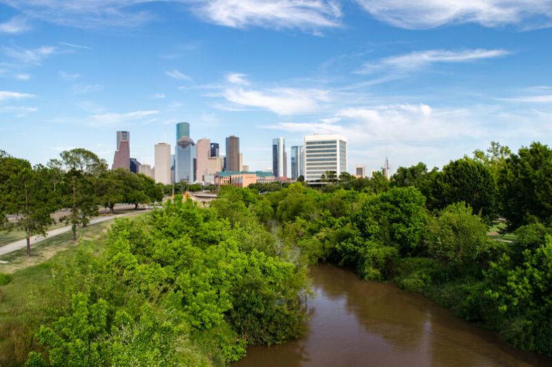 Houston Texas skyline taken from Memorial Drive